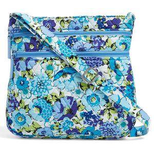 Triple Zip Hipster Crossbody: Blueberry Blooms